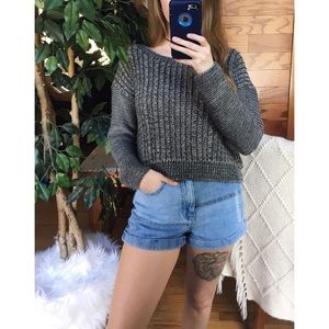 🌿 Speckled Gray Woven Knit Crop Sweater 🌿